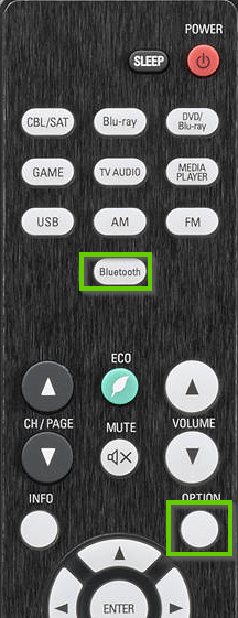 Denon remote showing bluetooth and option buttons