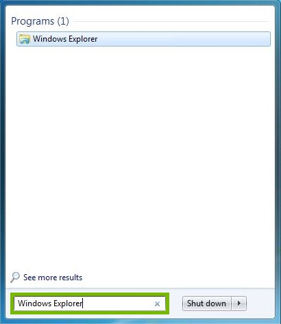 Search bar highlighted with Windows Explorer typed in
