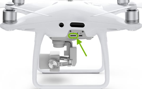 microSD card slot pointed out on side of drone.