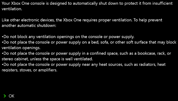 Xbox One improper ventilation message.