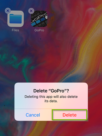 Screenshot of the delete verification prompt highlighting the delete button