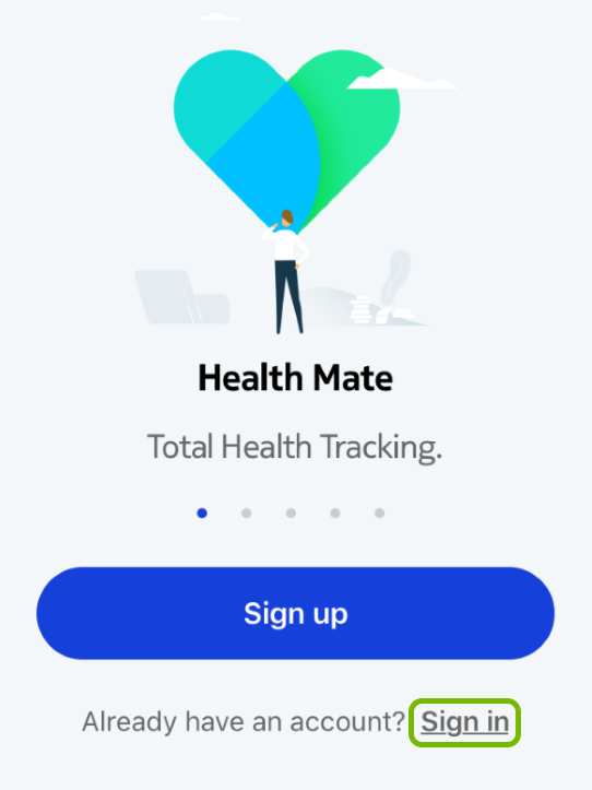 Sign In option highlighted in Withings Health Mate app.