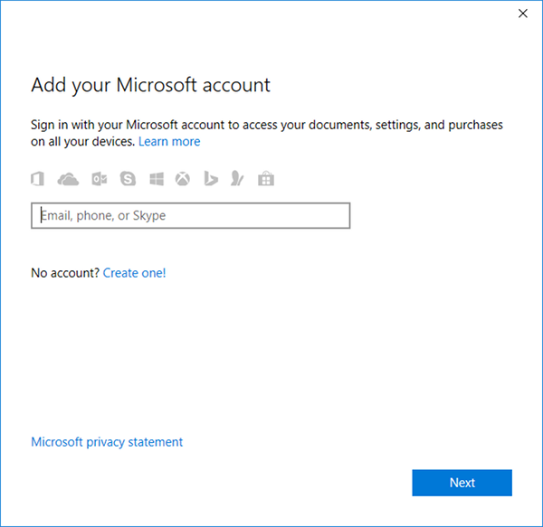 Microsoft Account sign-in.