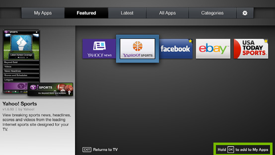 Hold OK instruction highlighted on Fullscreen VIA Plus Apps Window on VIZIO Smart TV.