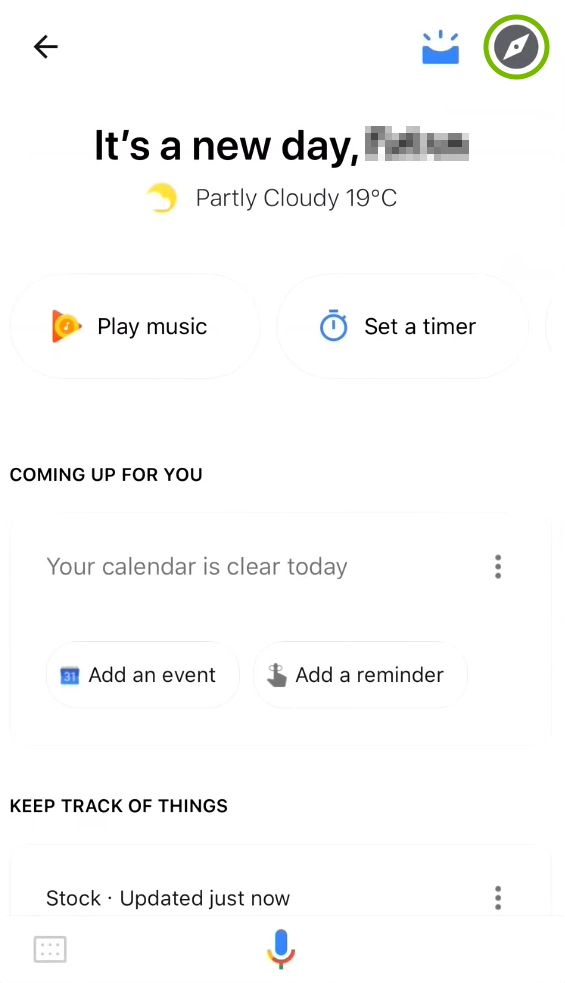 Explore icon highlighted in Google Assistant menu.