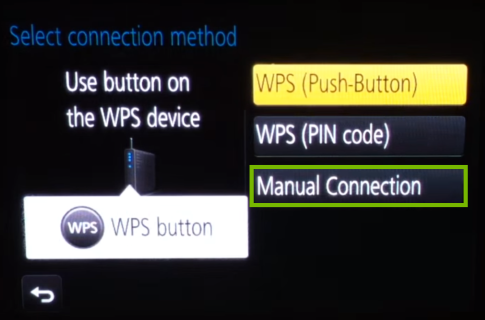 Camera Wi-Fi setup method selection second screen