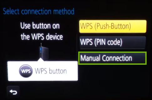 Camera Wi-Fi setup method selection second screen