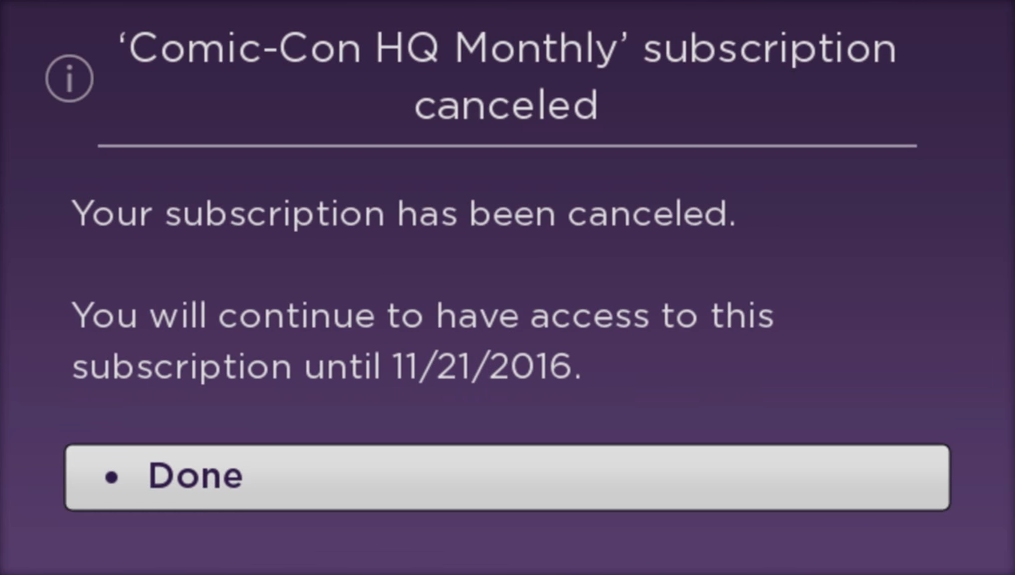 Roku TV channel subscription cancellation confirmation.
