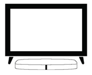 A split foot stand tv with the soundbar beneath it