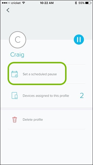 eero app family profiles setting time restriction