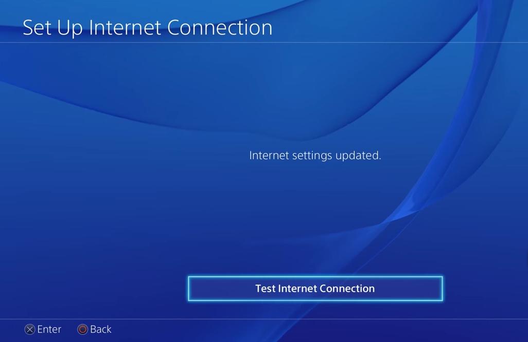 PS4 test internet connection button