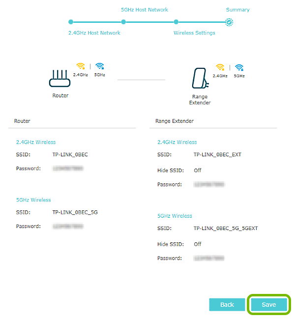 Save button highlighted on configuration summary page in range extender quick setup.