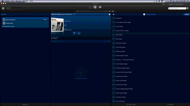 Sonos app dashboard screen.