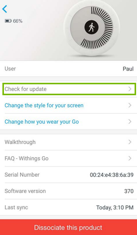 Withings Go options with Check for update highlighted