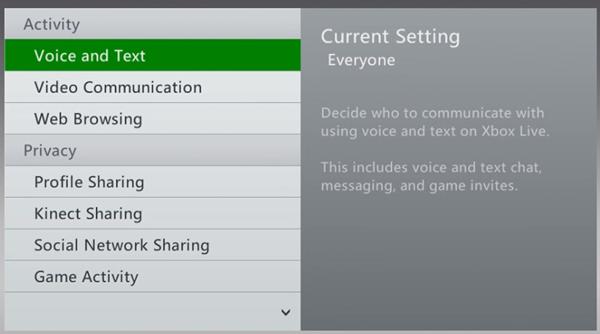 Xbox 360 activity tab