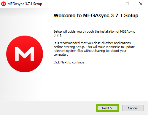 MegaSync setup welcome screen with Next highlighted.