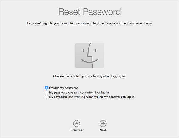 macOS reset password selections