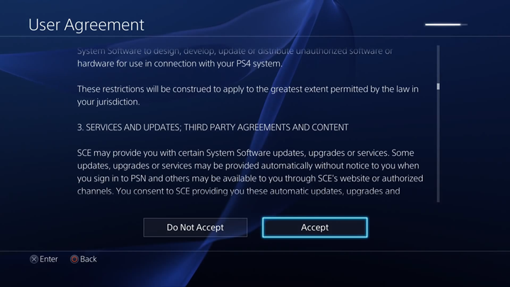 User Agreement acceptance screen.