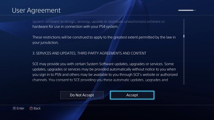 User Agreement acceptance screen.