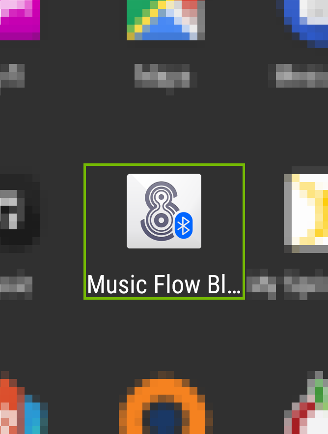 screenshot of android app iconds with music flow bluetooth highlighted