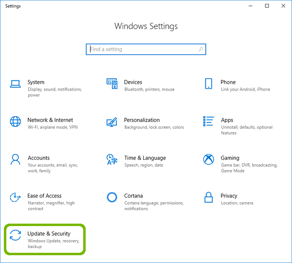 Windows Settings with Update and Security highlighted.