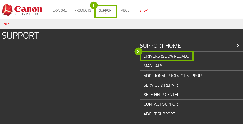 Support and Drivers & Downloads options highlighted on Canon webpage.