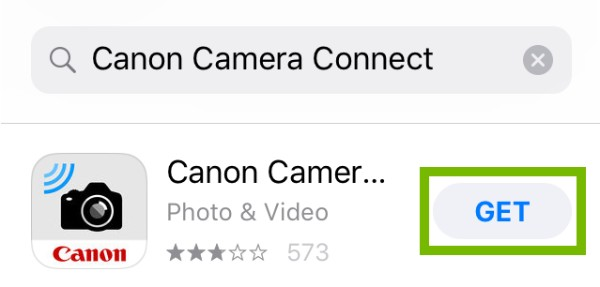 Canon Camera Connect page with Get highlighted