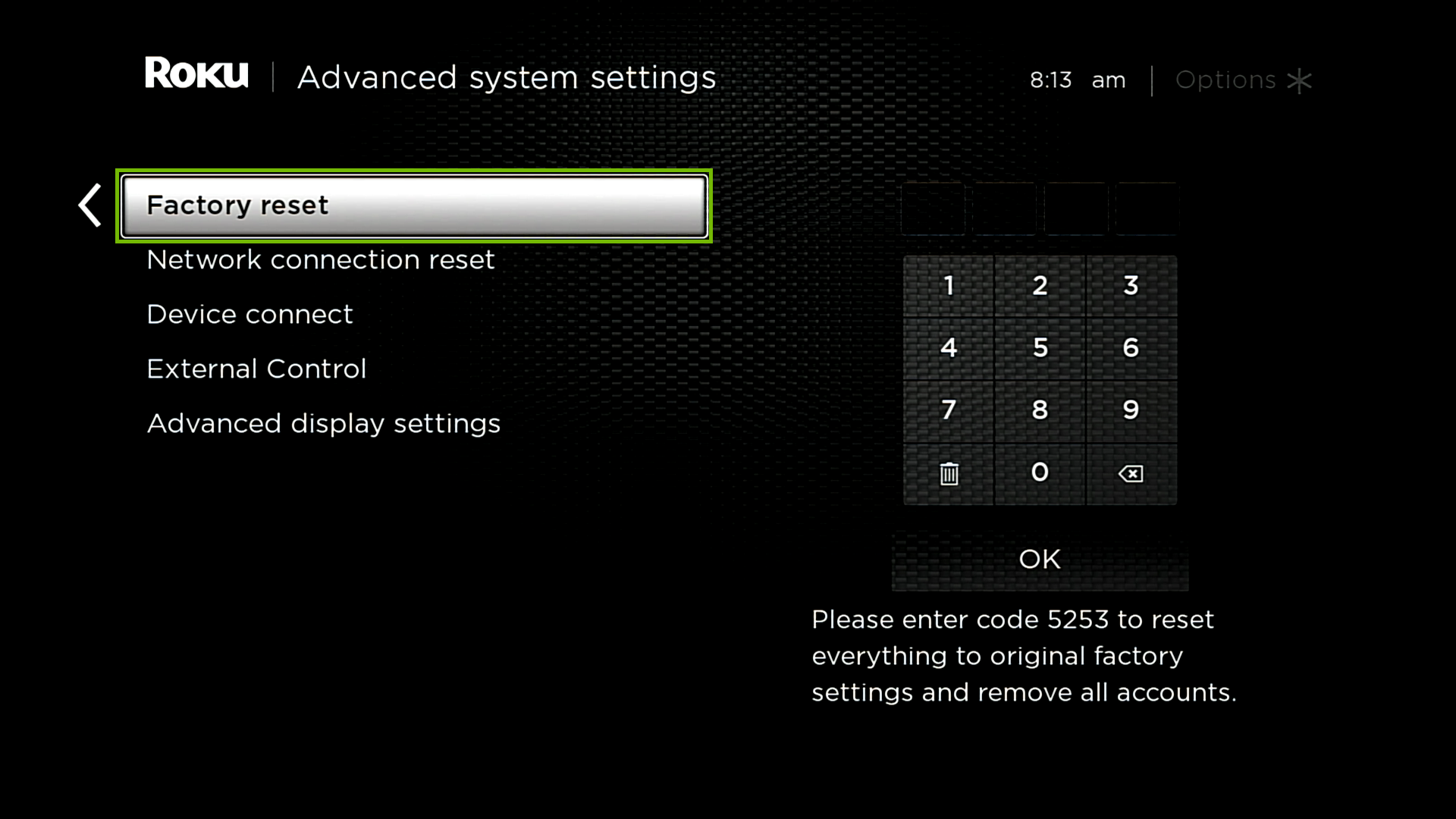 Advanced system settings with Factory reset highlighted.