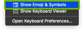 Input menu with Show Emoji and Symbols highlighted.