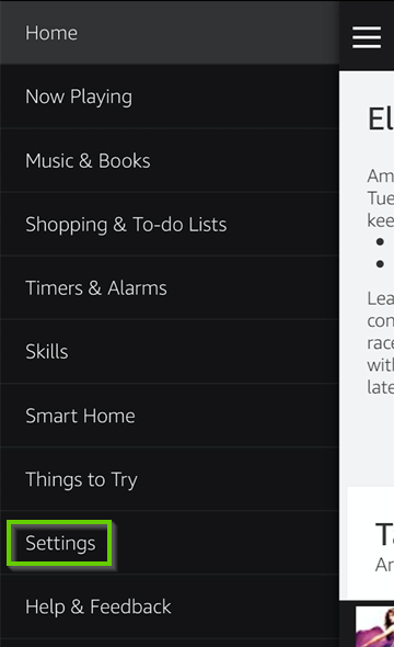 Amazon Alexa app settings icon