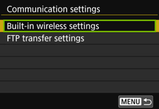 menu with built in wireless settings highlighted