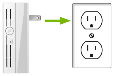 Range extender being plugged into power outlet.