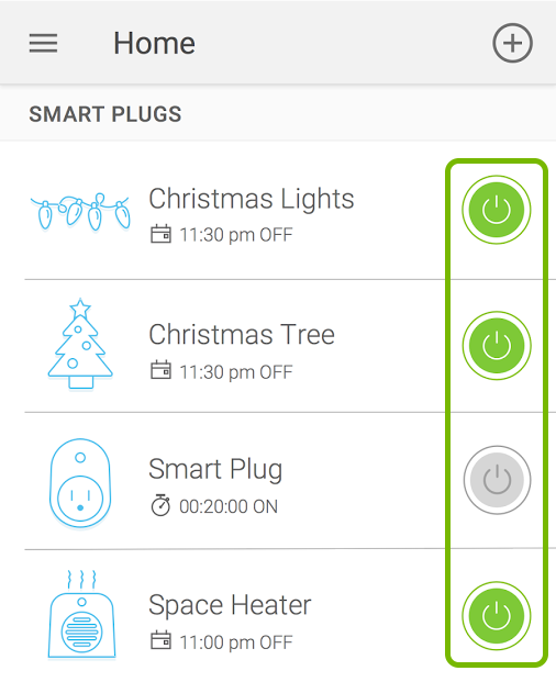 Toggle buttons highlighted for devices in Kasa app.