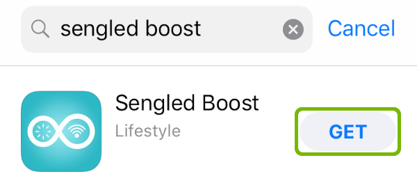 App store search for Sengled Boost with get highlighted.
