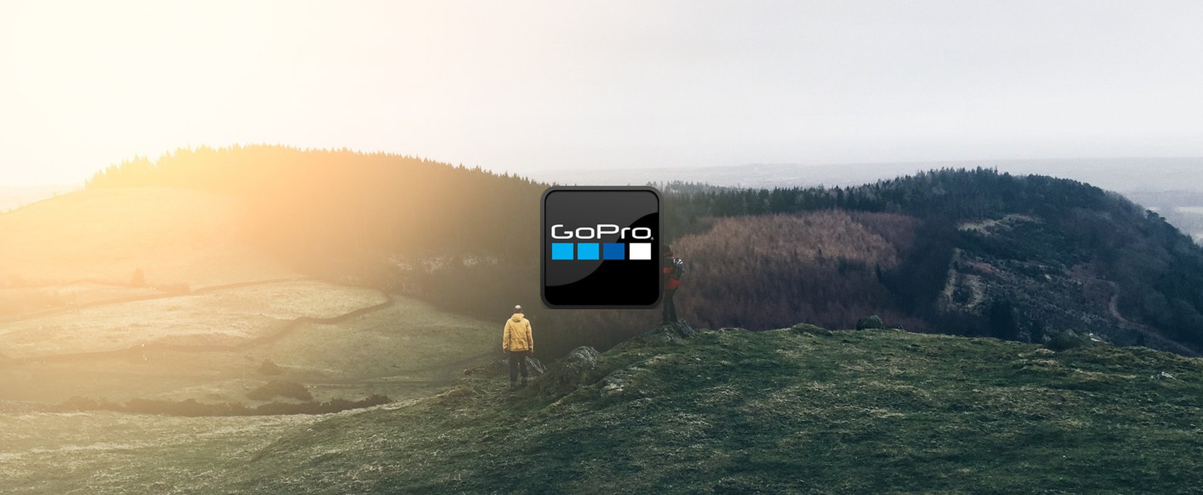 Image of a landscape displaying the GoPro logo