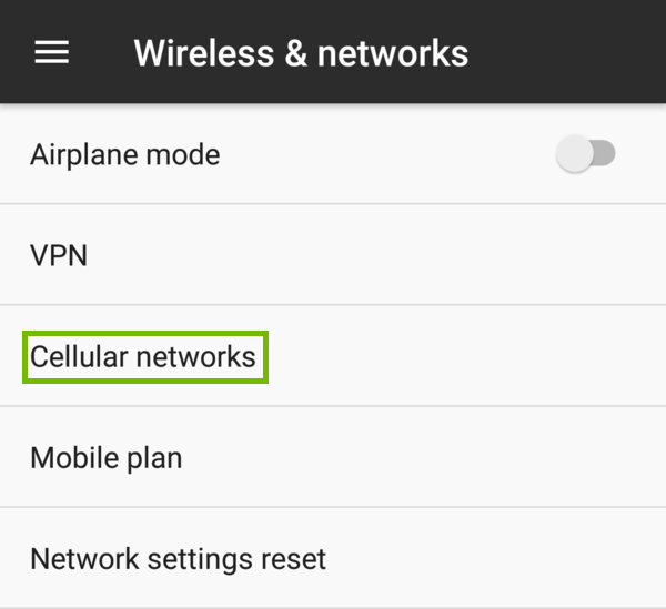 Wireless and networks with Cellular networks highlighted.