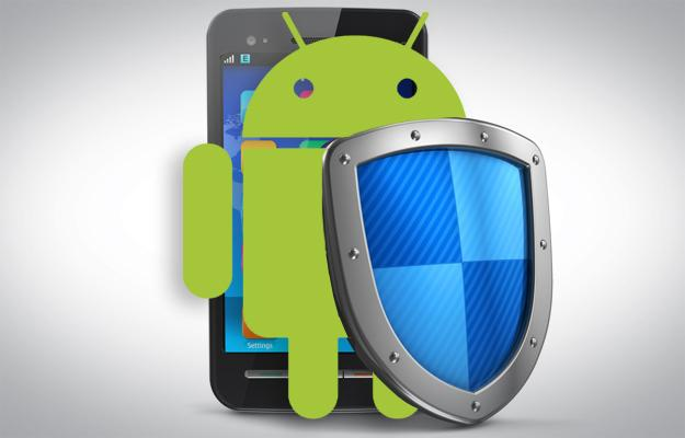 The android mascot holding a shield