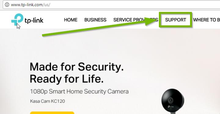 TP-Link website, highlighting support link.