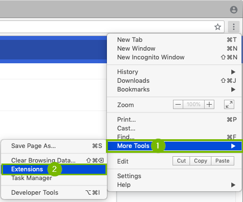 Chrome menu with more tools and extensions highlighted. Screenshot