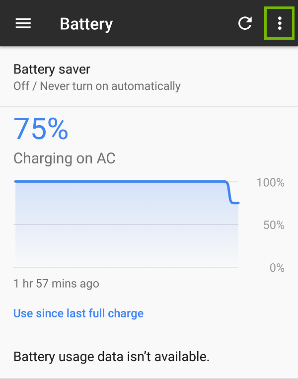 Battery settings with menu highlighted.