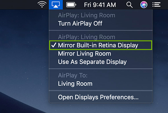 AirPlay menu highlighting AirPlay location.