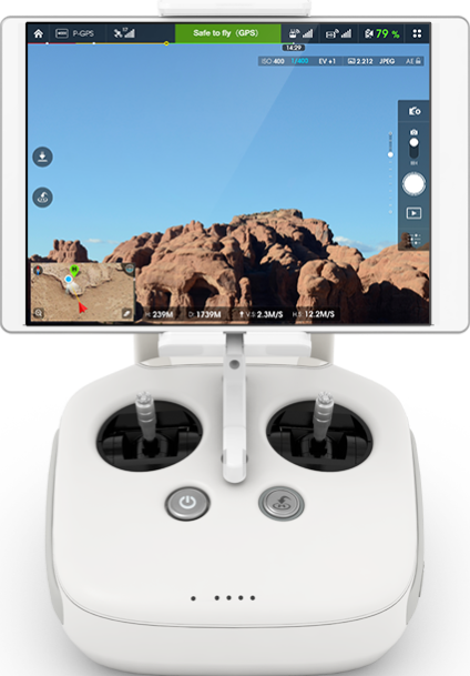 Phantom 4 remote control with display mounted.