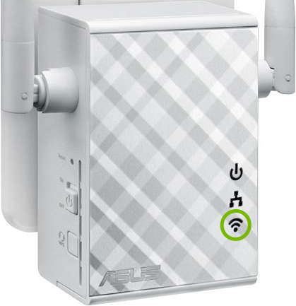 Wi-Fi light highlighted on front of range extender.