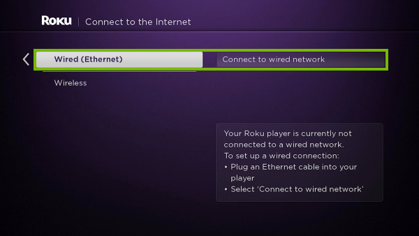 Wired setup option highlighted in Roku initial setup.