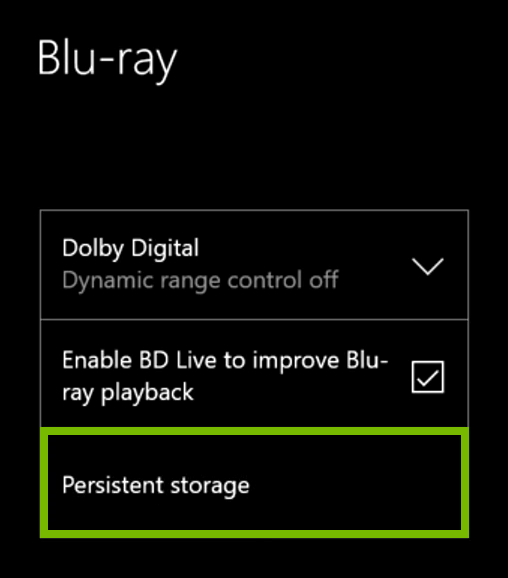 Persistent Storage option highlighted in Xbox One settings.