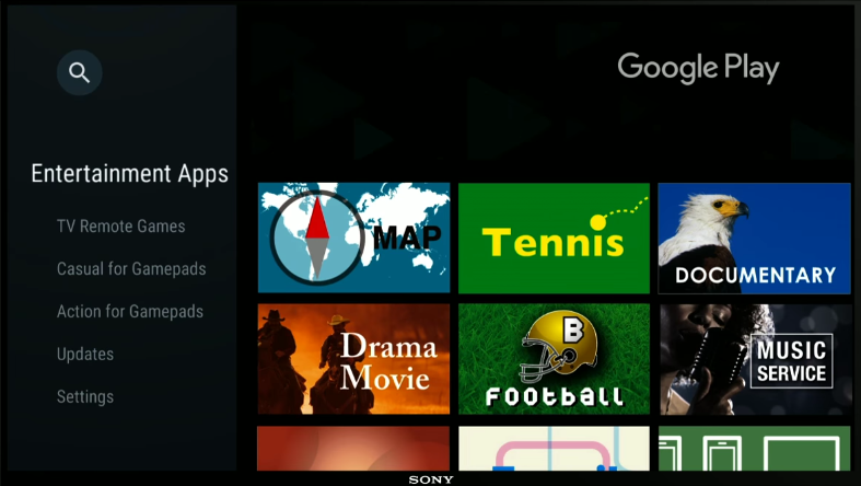 Google Play store with categories
