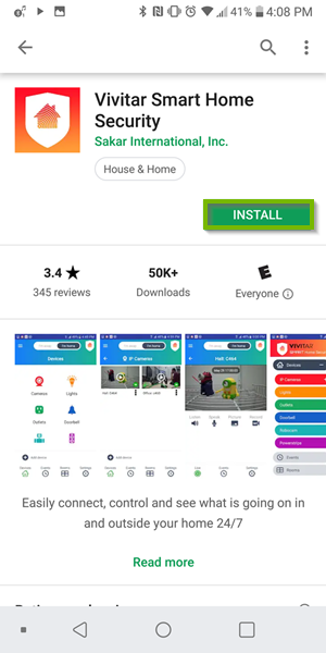 Install Page for app for Google Play