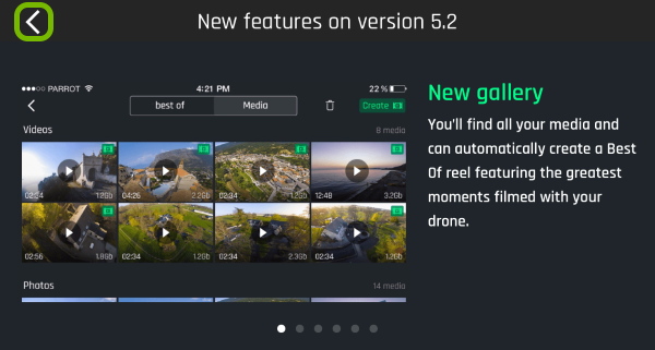 Back arrow highlighted in FreeFlight Pro app on first launch.