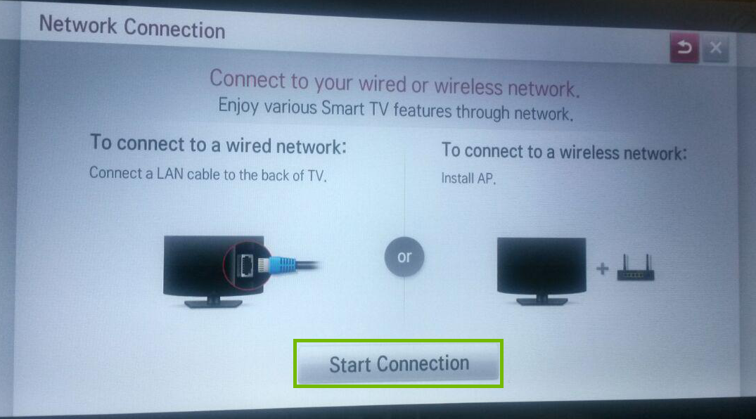 Network connection dialog with Start Connection highlighted.