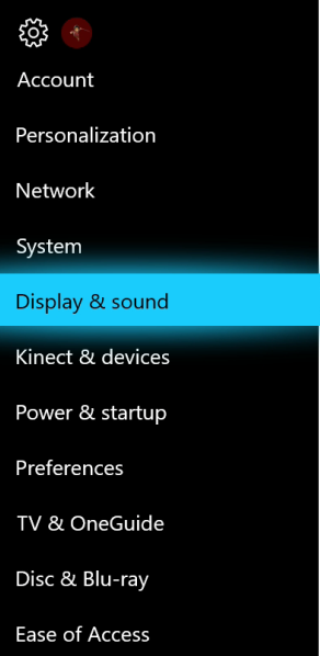 Settings menu with Display & sound highlighted